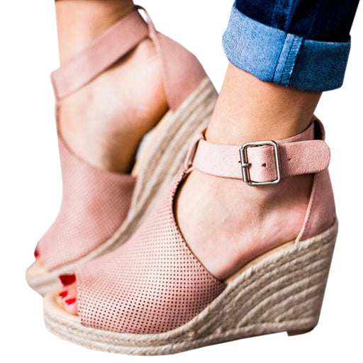 Chellysun Ankle Strap Espadrille Wedges