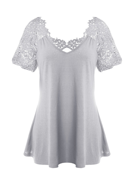 Chellysun V-neck Lace Backless Shirts Blouse