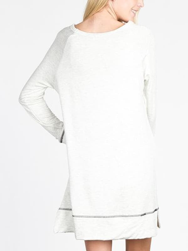 Chellysun Casual Long Sleeve Shift Dress