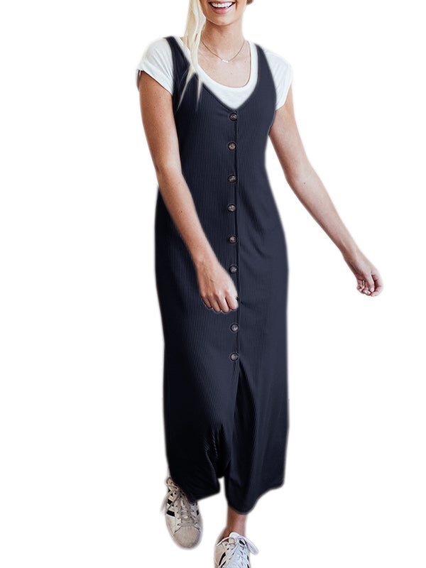 Chellysun casual long dress with button