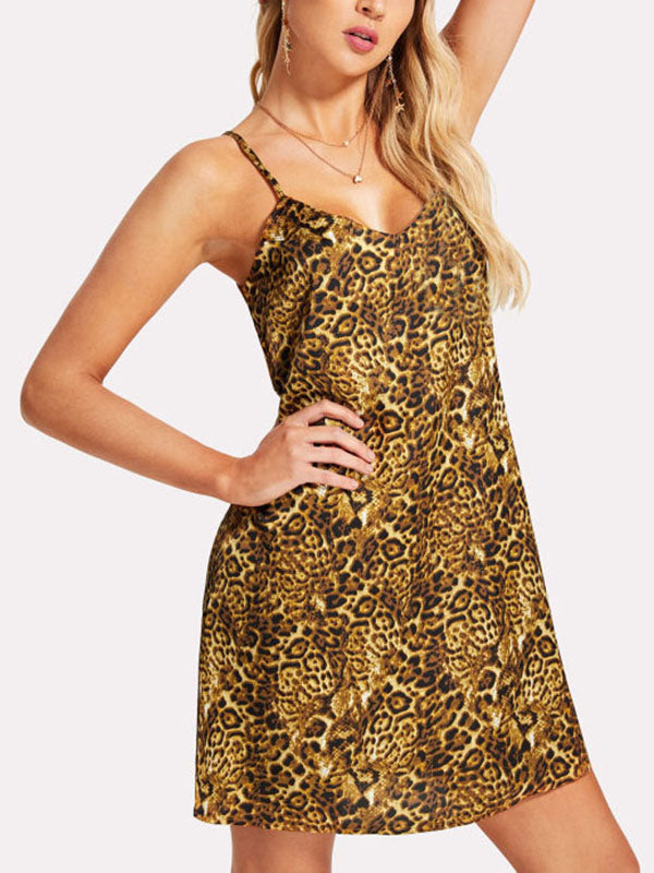 Chellysun Women Suspender Leopard Print Cami Dress