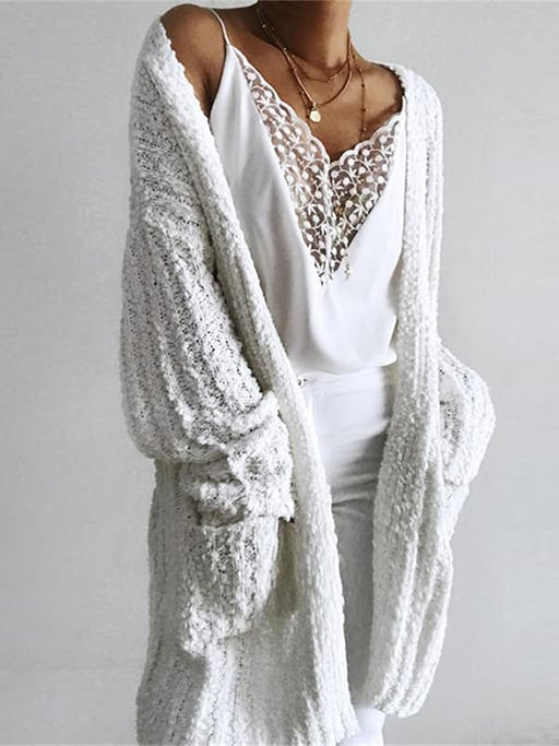 Chellysun Casual Long White Cardigan