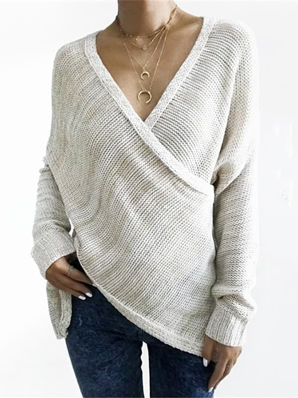 Chellysun Casual V Neck Front Cross Sweater