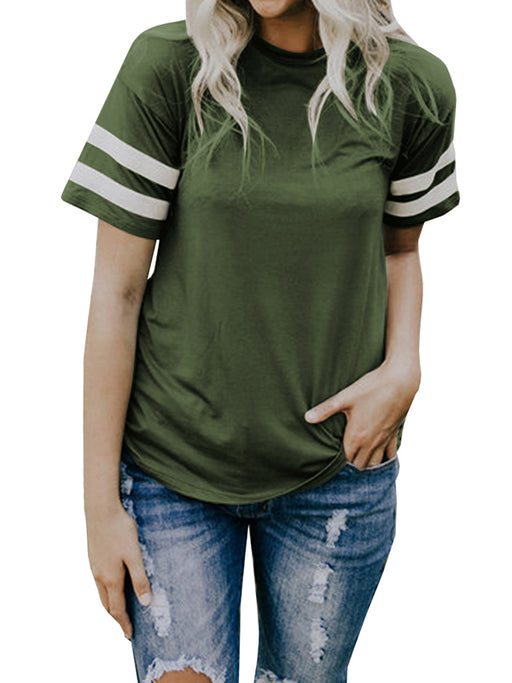 Chellysun Round Neck Striped Top-Green