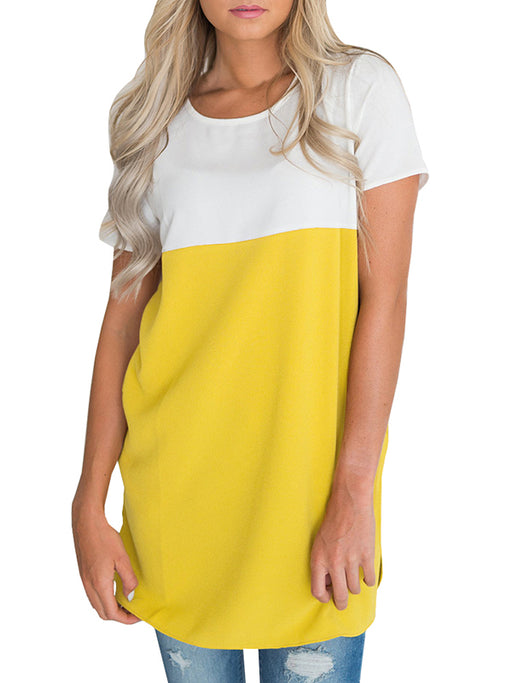 Chellysun Color Block Casual Pocket T-Shirt