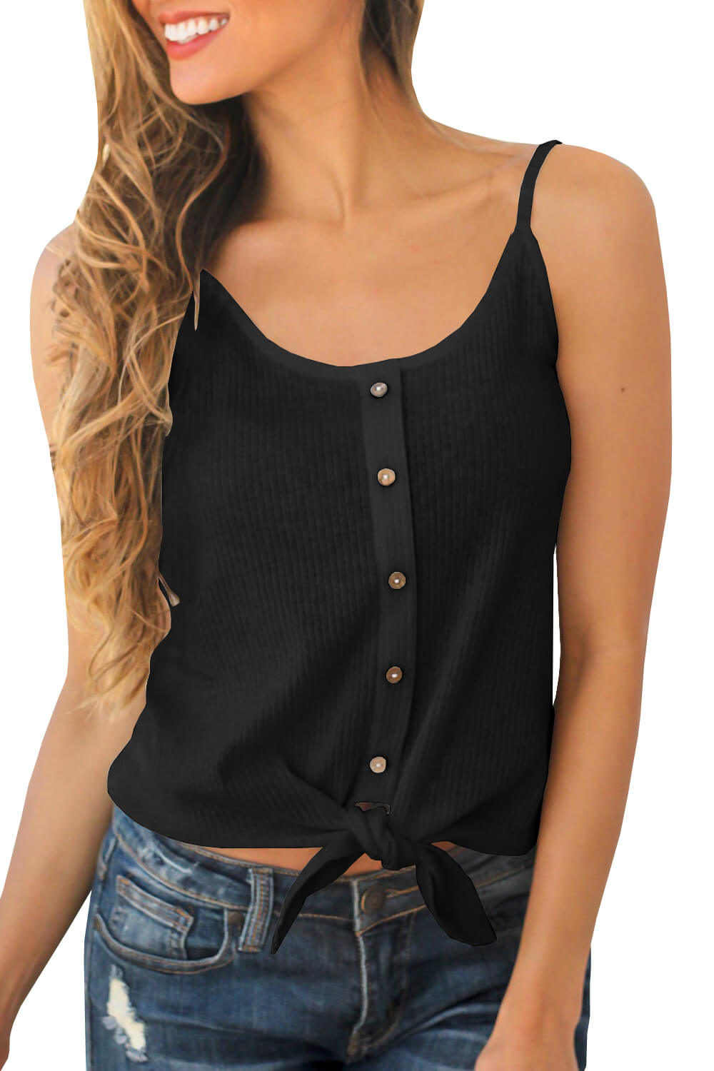 Chellysun Ribbed Buttoned Tie Tank Top