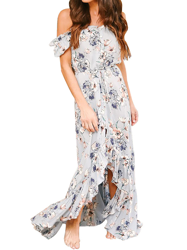 Chellysun Women Floral Off The Shoulder Split Chiffon Dress