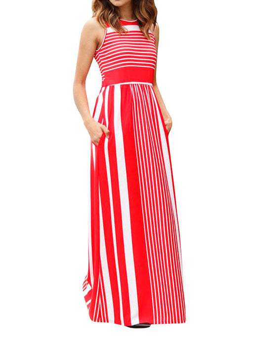 Chellysun Round Neck Stripe Maxi Dress
