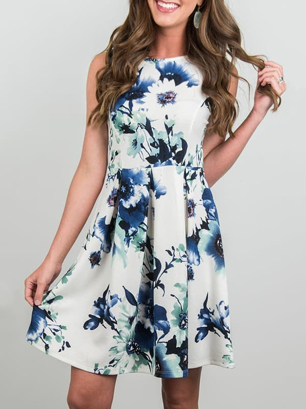 Chellysun Casual Sleeveless Floral Print Dress