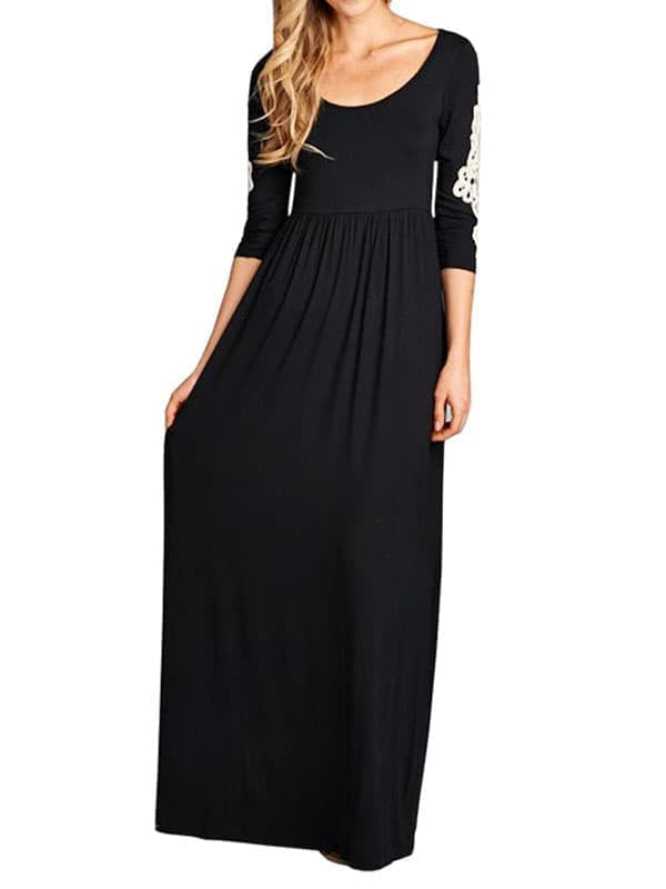 Chellysun Women Casual Long Dresses Solid Maxi Dress