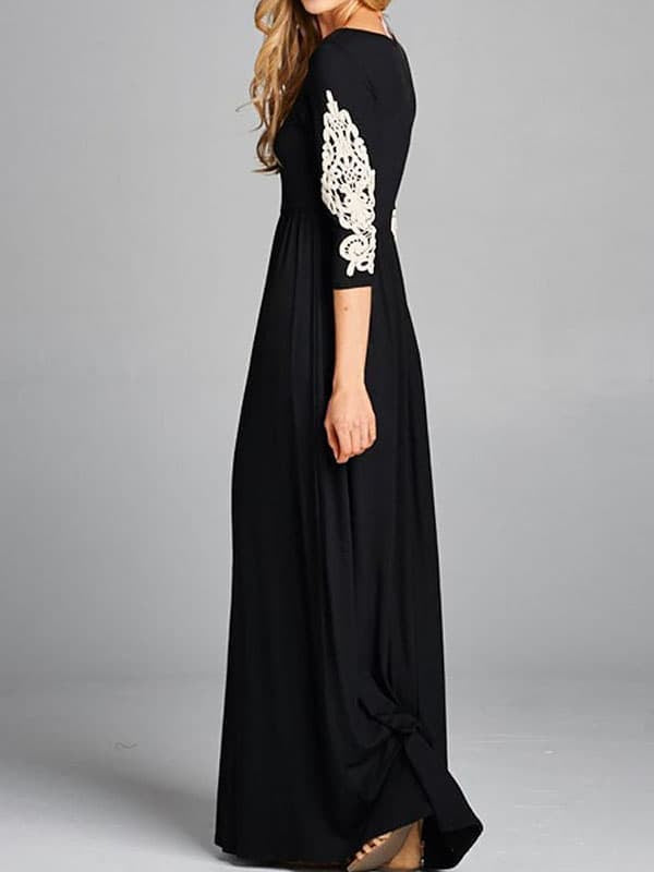 Chellysun Casual Solid Lace Maxi Dress