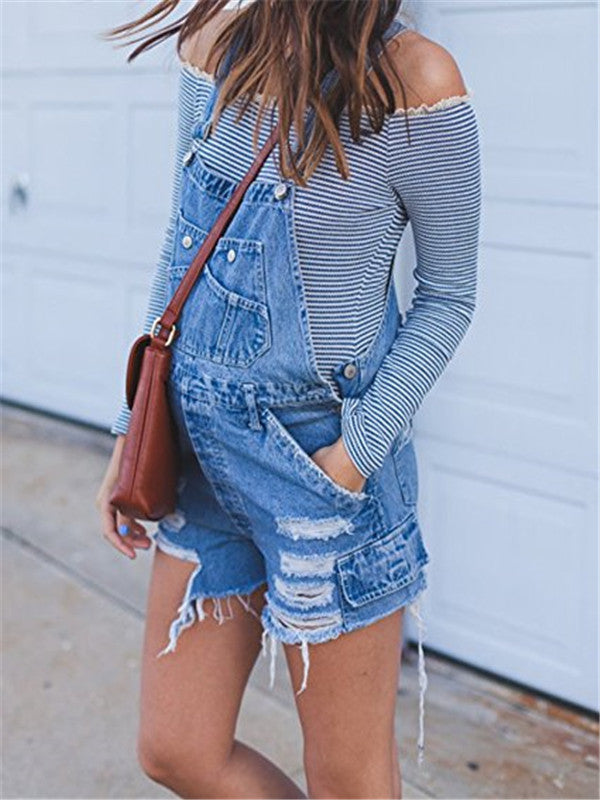 Chellysun Cowboy Hole Strap Jeans Overalls
