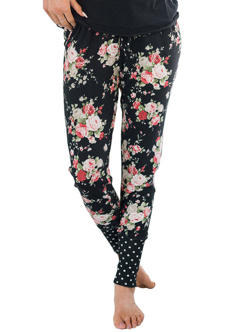 Chellysun Floral Elastic Narrow Feet Pants