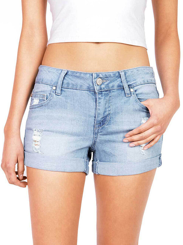 Chellysun Womens Middle Waisted Wash Destructed Denim Shorts