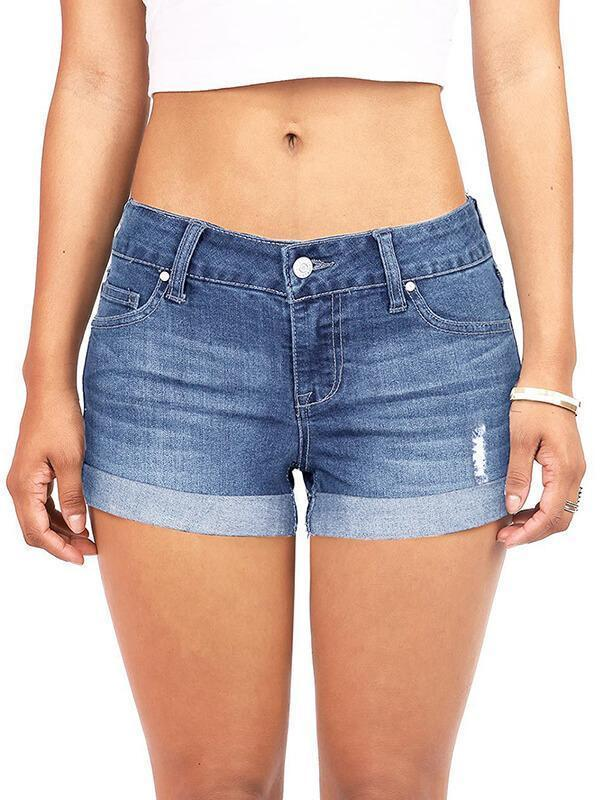 Chellysun Womens Pipped Body Enhancing Denim Shorts
