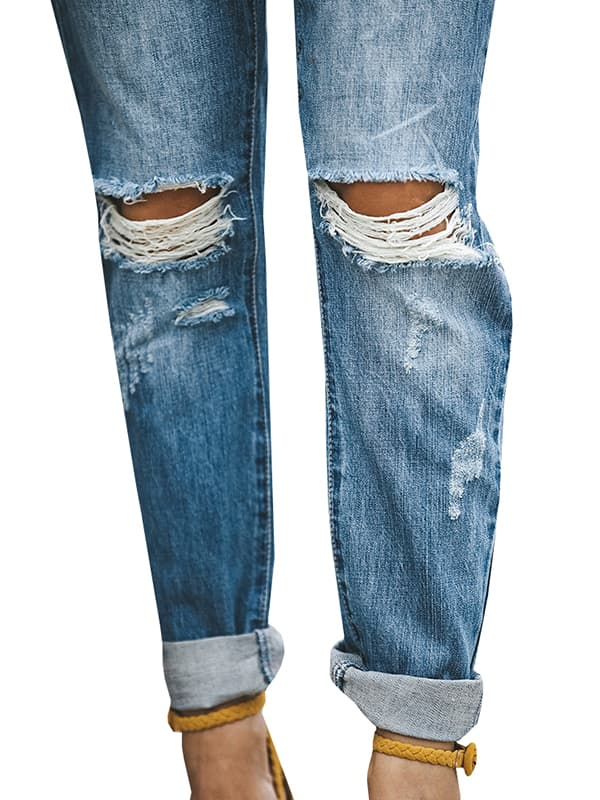 Chellysun Skinny Stretch Roll up Blue Jeans