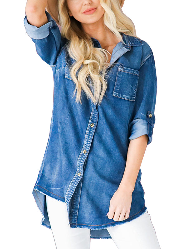 Chellysun Long Sleeve Button Up Denim Shirt