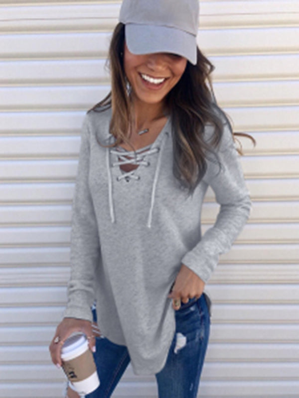 Chellysun Lace Up Long Sleeve Sweater