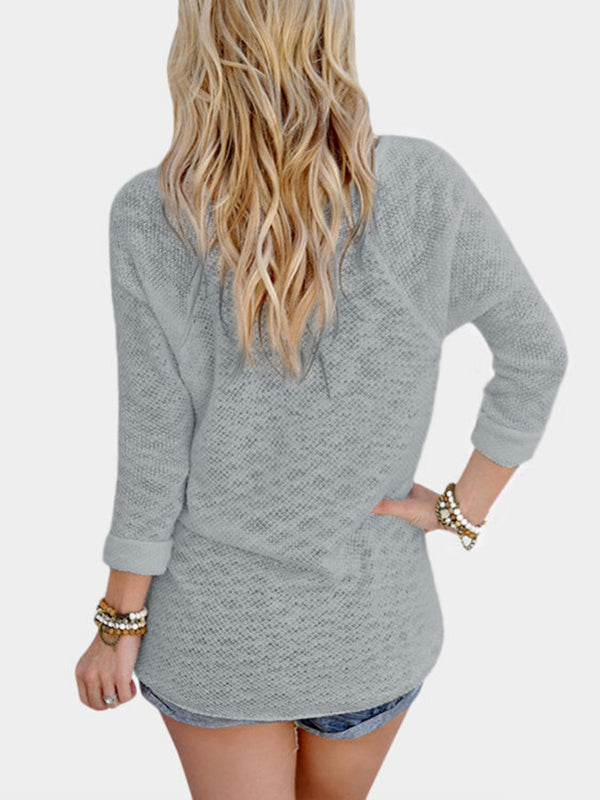 Chellysun Fall Solid Knitted Fashion Sweater