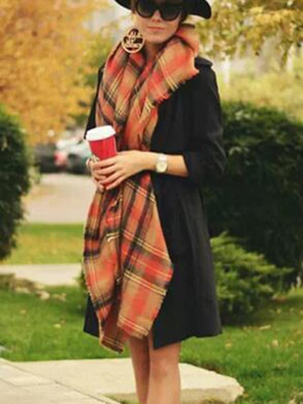 Chellysun Fashion Plaid Orange Scarf