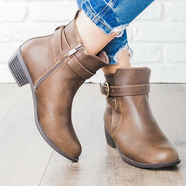 Chellysun Fall Fashion Casual Leather Boots