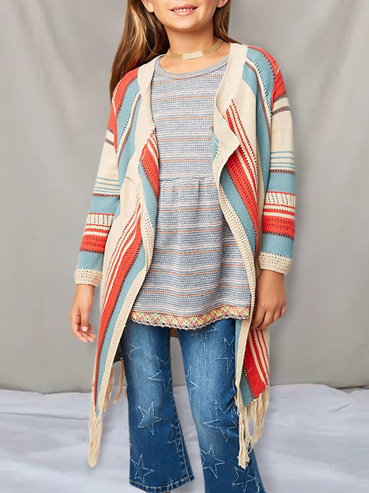 Chellysun Girls Printed Open Front Cardigan