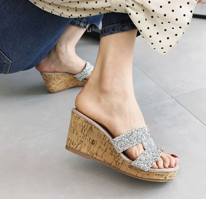 Chellysun Womens Fashion Rhinestone Wedge Slippers