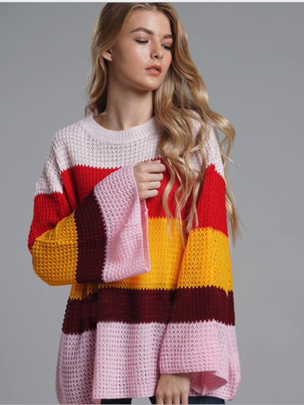 Chellysun Colorful Stripe Casual Sweater