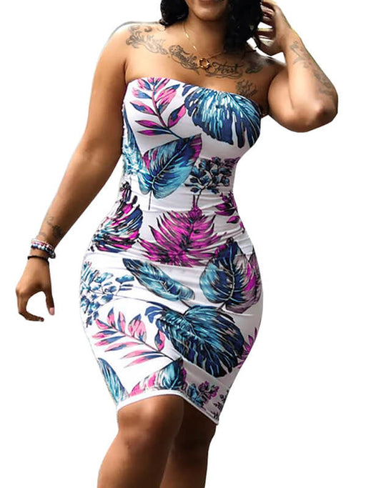 Chellysun Bodycon Plant Print Party Dress