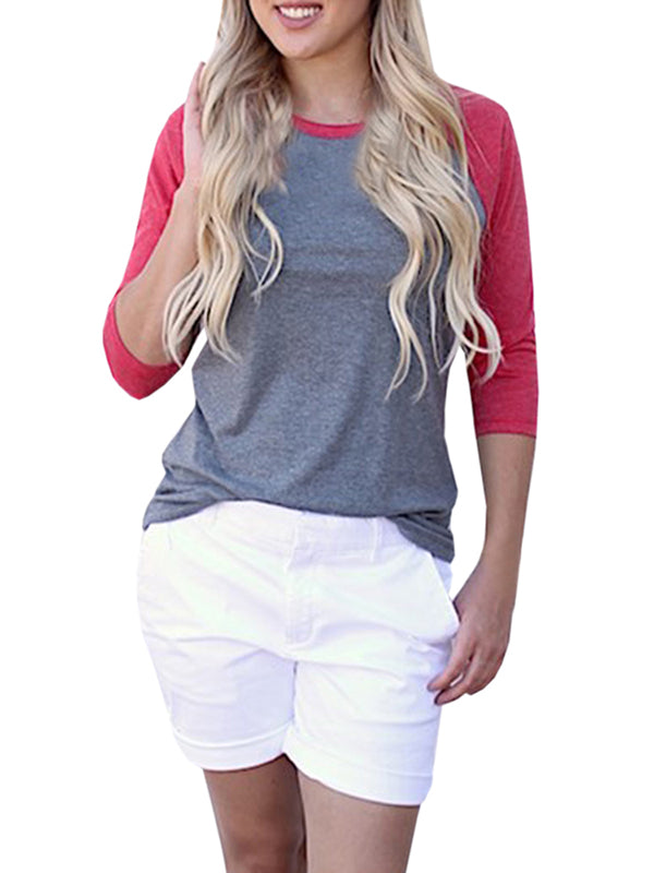 Chellysun Casual Round Neck Short Sleeve Splice T-Shirt