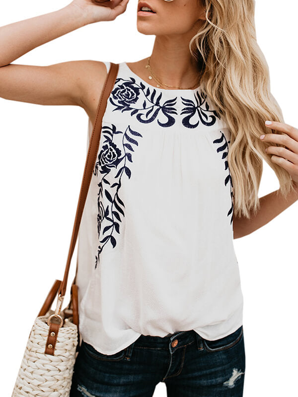 Chellysun Womans Isle Life Embroidered Tank Tops