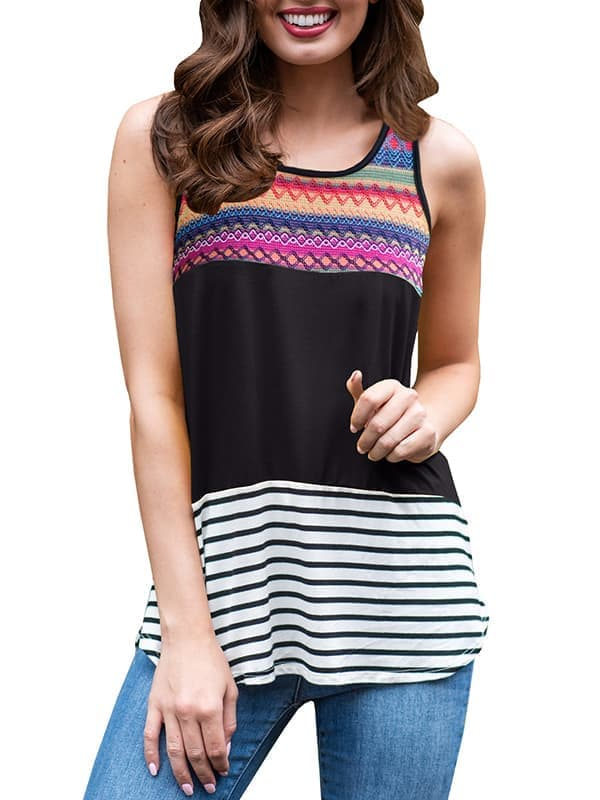 Chellysun Striped Print Tank Top
