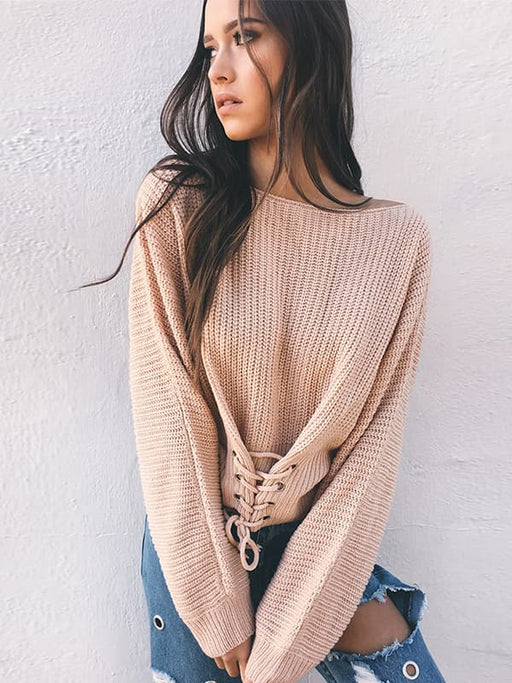 Chellysun Lace Up Knitted Pullover Sweater