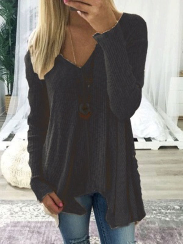 Chellysun Irregular Hem V-Neck Sweater