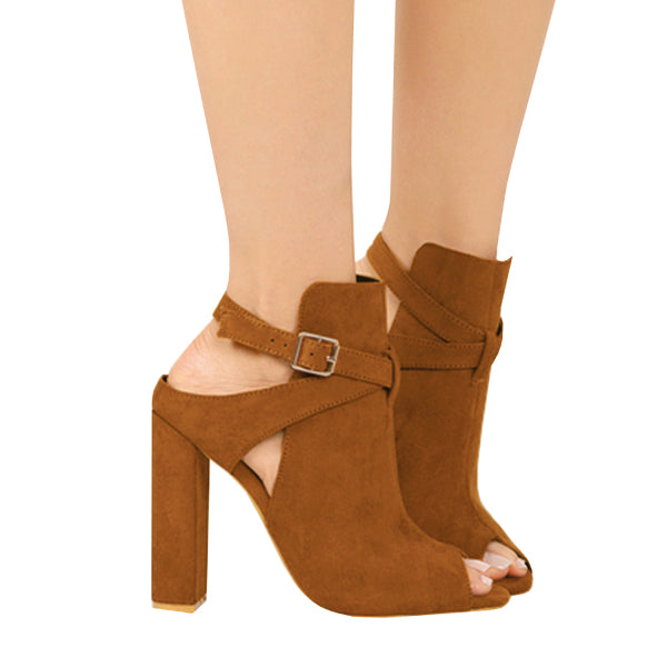 Chellysun Faux Leather Buckle Ankle Boots
