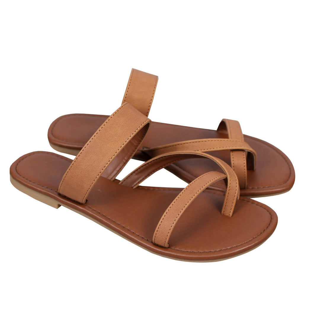 Chellysun Faux Leather Flat Sandals