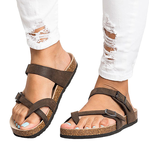 Chellysun Leather Strap Buckle Flats Sandals