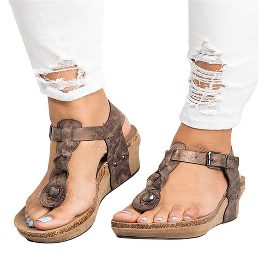 Chellysun Boho Braided Wedge T Strap Sandals