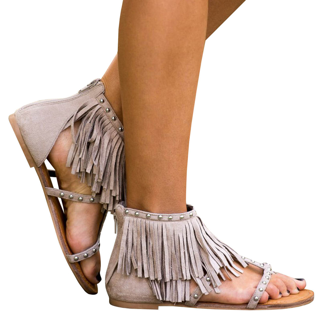 Chellysun Faux Leather Fringe Flats Sandals