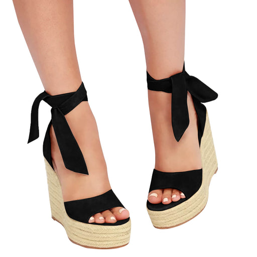 Strappy Sandals -  Lace up Platform Wedge