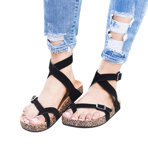 Chellysun Suede Black Buckled Sandals