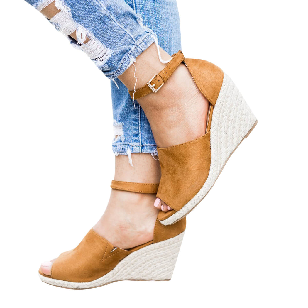 Chellysun Peep Toe Buckle Wedge Sandals