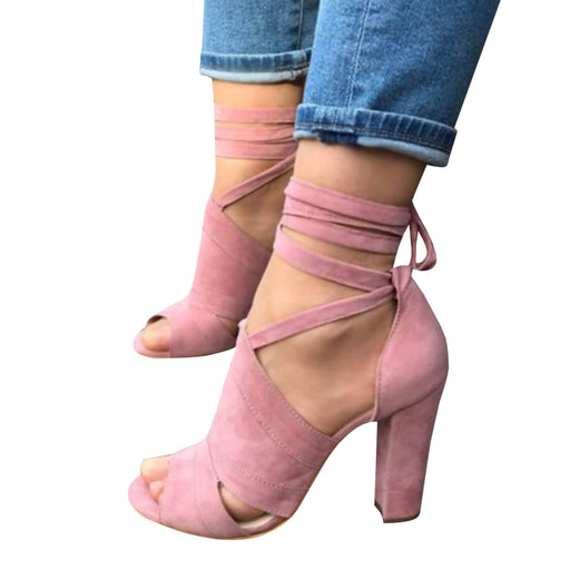 Chellysun Strappy Peep Toe High Heels