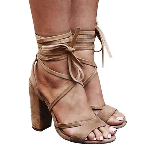 Chellysun Lace up Faux Suede High Sandals