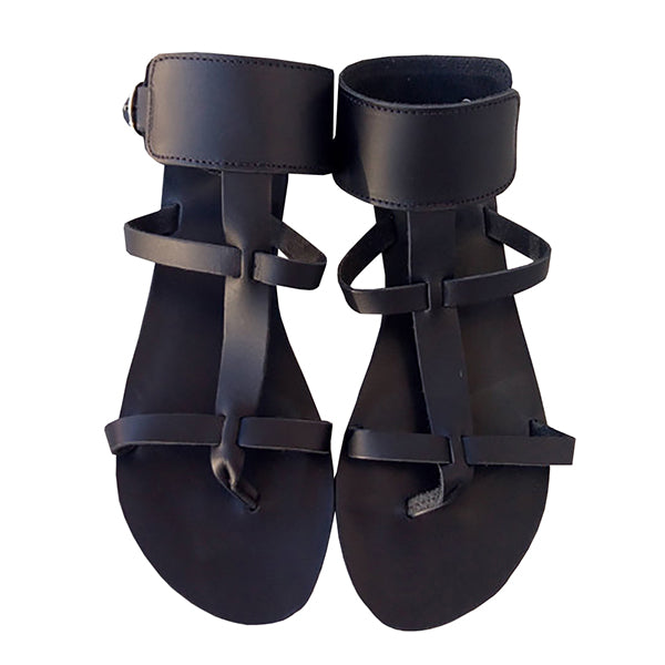 Chellysun Black Gladiator Strappy Sandals
