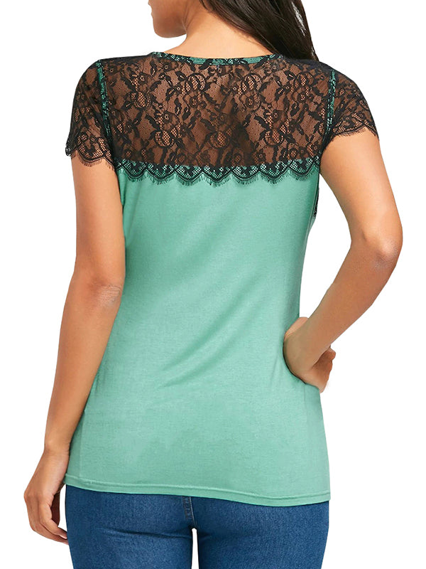Chellysun Short Sleeve Lace Panel T-shirt