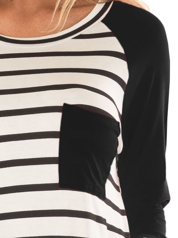 Chellysun Stripe Pocket T-Shirt Tops