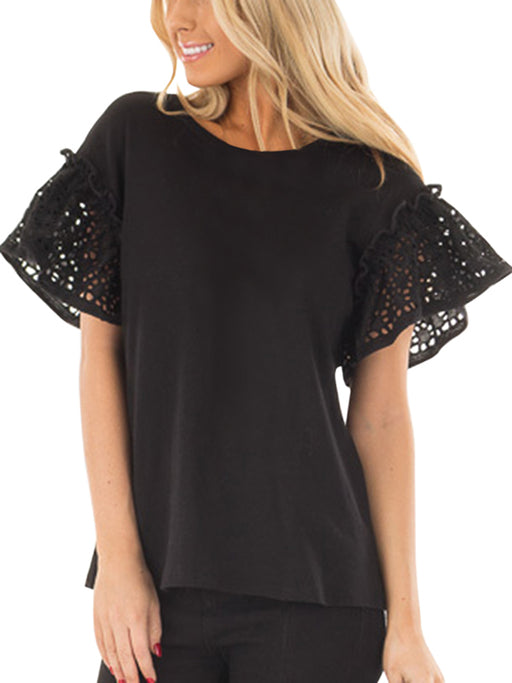 Chellysun Black Top With Lace Ruffle Short Sleeves