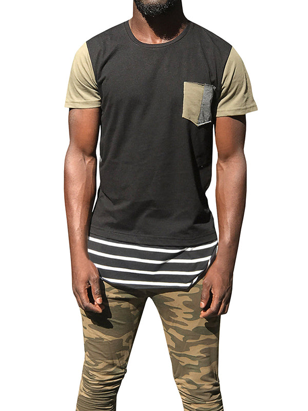 Chellysun Mens Pocket Round Neck Casual T-shirt