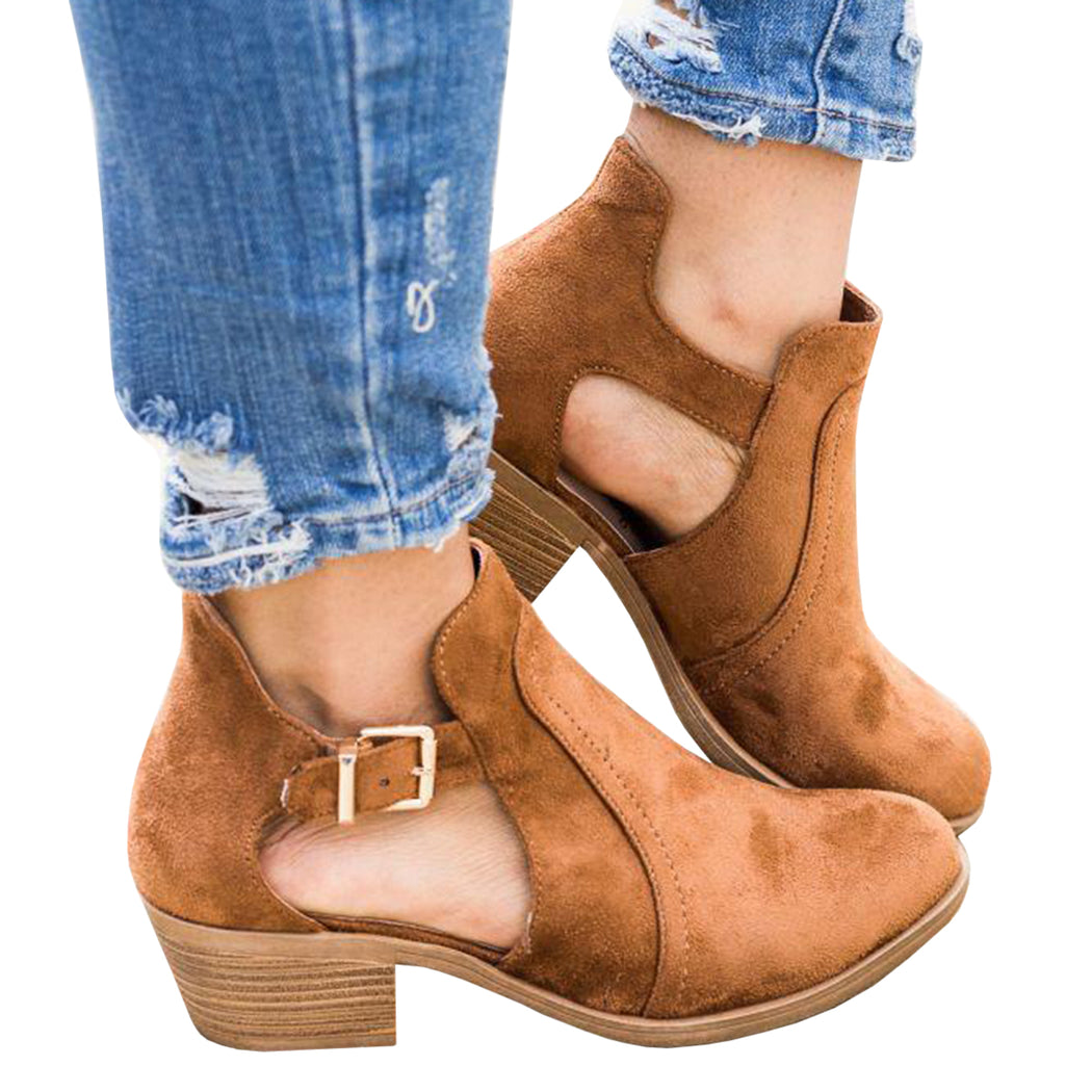 Chellysun Cut Out Buckle Suede Boots